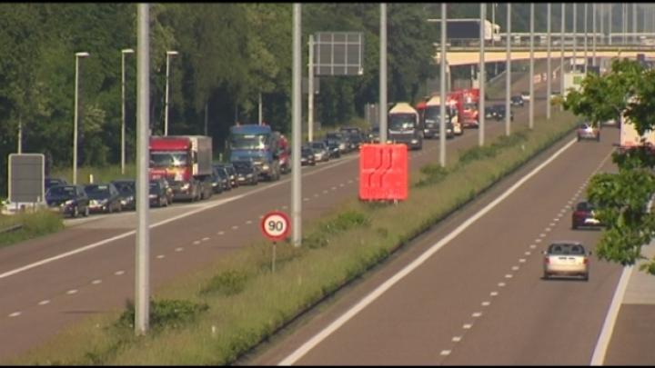 Drukke ochtendspits aan E34 in Turnhout