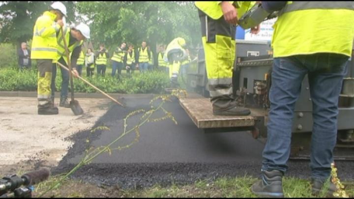 Groen asfalt met gerecycleerde materialen in Retie