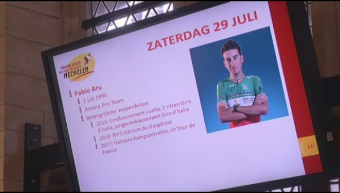 Fabio Aru rijdt rondjes op Mechelse Grote Markt