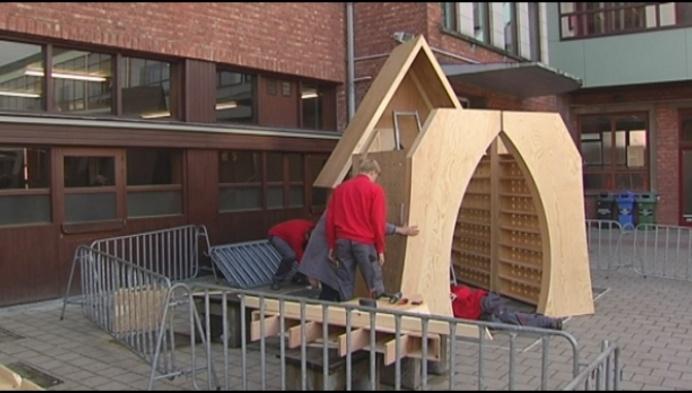 Leerlingen maken pop-up kapel in Turnhout