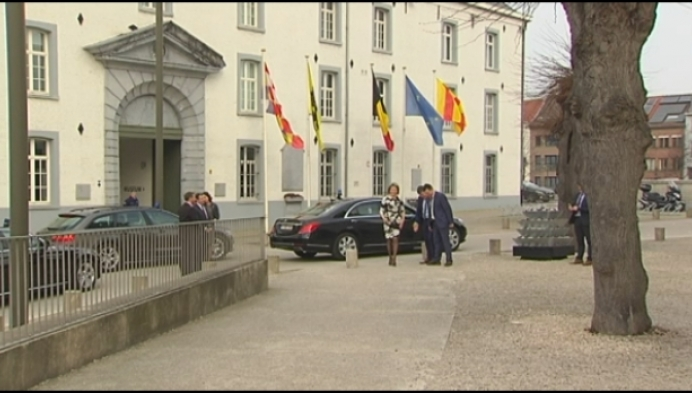 Koningin Mathilde bezoekt Kazerne Dossin in Mechelen