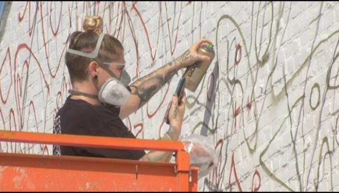 Muurschildering van Steven Goegebeur fleurt Hulshoutse muur op