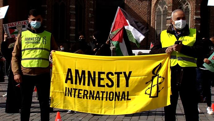 Actievoerders komen op straat uit solidariteit voor Palestina